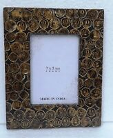 Wood Photo Frame Old Unique Hand made Brass Work Picture Frame Collectible Art