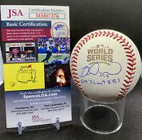 MIGUEL MONTERO Signed 2016 World Series Baseball WS Game 7 Last RBI Insc JSA COA