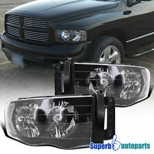 For 2002-2005 Dodge Ram 1500 2500 3500 Headlight Head Lamps Black (Fits: Dodge Ram 1500)