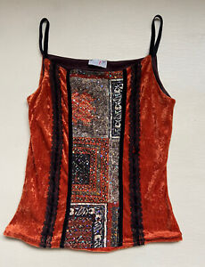 Vtg Velour Orange Cami Top Bodice Dainty Sequinned Lace Trim 90s 00s 2000s Y2k