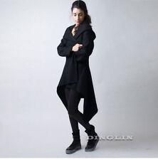 Winter Women Black Warm Asymmetric Hem Coat Hooded Long Jacket Outwear Overcoat