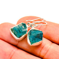 "Chrysocolla In Quartz 925 Sterling Silver Earrings 1 1/4"" Jewelry E411101F"