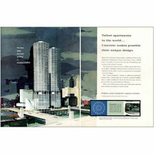 1961 Portland Cement: Chicago Marina City Vintage Print Ad