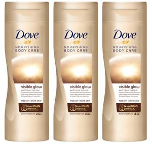 3 x Dove Visible Summer Glow Self Tan Body Lotion - Medium to Dark, 250ml