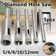 5Pcs 5-12mm Diamond Coated Core Hole Saw Drill Bits Glass Tile Ceramic Marble