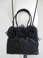 Womens evening party cocktail black satin hand & shoulder small hand bag purse