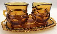 Indiana Glass Kings Crown Thumbprint Amber Sugar Creamer & Tray VTG Set