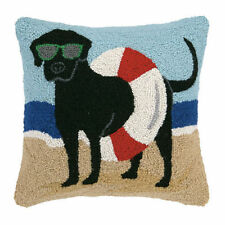 """BLACK LAB AT THE BEACH 16X16"""" WOOL YARN HOOK PILLOW, POLY INSERT INCL. PET,  NEW"""