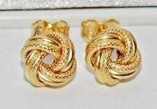 9 CT YELLOW GOLD & SILVER DETAILED CELTIC KNOT STUD EARRINGS
