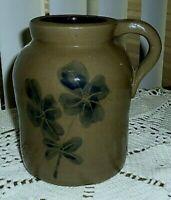 "New Primitive Country Rustic BLUE FLOWER CROCK WITH HANDLE Jug Vase Jar 6"""