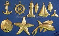 100pc Raw Brass Nautical Ocean Sea Lot Charms 4580
