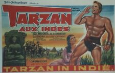 """TARZAN AUX INDES (TARZAN GOES TO INDIA)"" Affiche belge entoilée (Jock MAHONEY)"