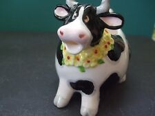 Omnibus Cross Eyed Chubby Black White Porcelain Cow Creamer made in Japan