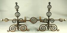 ! Antique 1800's SUPERB Wrought Iron Andirons Pair Fireplace Set - BARNARD'S INN