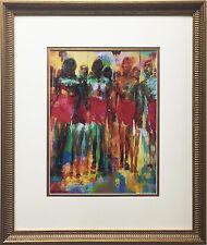 "LeRoy Neiman ""Maasai"" CUSTOM FRAMED Art Chiricahua Apache AFRICAN WARRIOR TRIBE"