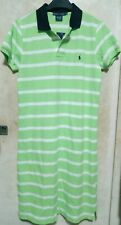 BNWT RALPH LAUREN SPORT women green/white striped logo shirt dress w/collar szS