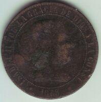 Monete 2 1/2 Centesimi Di Scudo Isabel II - Anno 1868 Om - Barcelona Barcellona