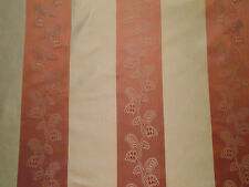 Luxurious 100% Silk Woven Stripe Fabric 6-18 yards Claret Pink Ivory Gorgeous