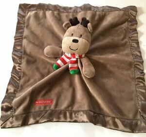 Carters Lovey Reindeer My 1st Christmas Brown Fleece Satin Security Blanket Toy