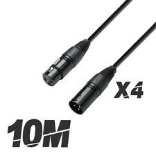 More details for 4x roar 10m dmx cable xlr female - xlr male black 110 ohm 1000cm disco lighting