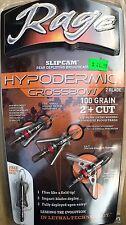 Rage Hypodermic Crossbow 100 grain 2 blade Broadhead-Official Liscensed Dealer