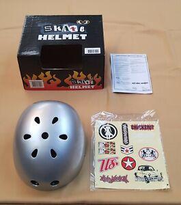 Skate helmet Silver XL Bike Scooter Skateboard BMX Cycle 60-62 cms+free stickers