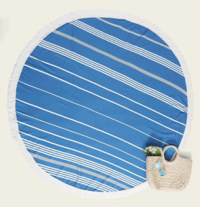 Striped Fringe Circle Beach Blanket Blue White Circular NWOT 61.4""