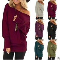 Womens Long Sleeves Sweatshirt Loose Cold Shoulder Tops Casual Blouses Plus Size