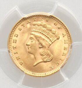 1862 PCGS MS65 Gold Dollar Civil War Era Liberty Head Lustrous Type Coin Gem BU