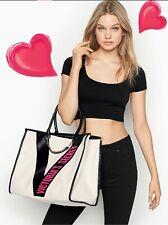 NEW VICTORIA'S SECRET CITY TOTE BAG Ribbon Logo Tape Hot Pink Logo White Cream