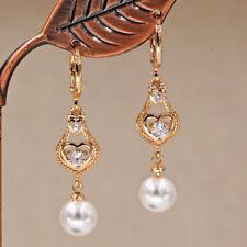 18K Gold Filled - 1.6'' Hollow Pearl Heart Waterdrop Gems Topaz Lady Earrings DS