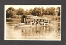 REAL-PHOTO POSTCARD:  FEEDING FISH FROM GLASS BOTTOM BOAT - SILVER SPRINGS, FL