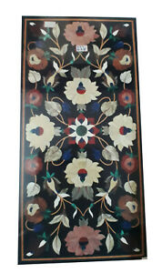 """18""""x24"""" Black Marble Coffee Top Table Marquetry Inlay Floral Art Home Decor B711"""