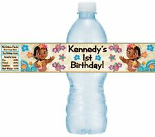 12 Baby Moana Birthday Party Shower Water Bottle Sticker Labels Princess Ocean