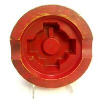 ROUND RED PAINTED WOOD FOUNDRY CASTING PATTERN MOLD B1087 INDUSTRIAL SCULPTURE