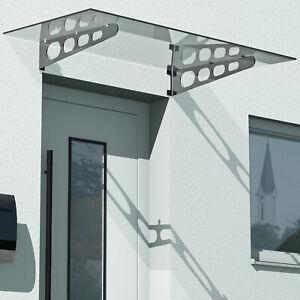 Glasvordach 120 x 90 cm Vordach Haustür Türvordach Klarglas VSG Edelstahl