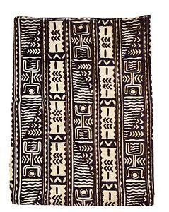 Alaska Textiles Brown Tribal Ethnic Hand Printed Native American Remnant Fabric