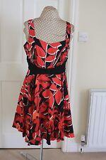 New Next Pretty size 16 petite Red sleeveless tea dress full skirt cost £55