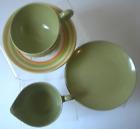 Vintage 1950s Oneida Green Melamine Breakfast Set