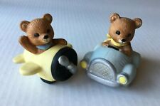 Vintage Homco Bisque Ceramic Baby Bears in Yellow Airplane and Blue Car #1463