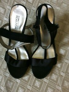 KENNETH COLE  black satin patent heels sandals 7.5 ankle strap dress shoes party