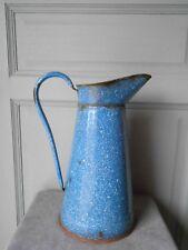 Vintage FRENCH Enamel granited BLUE BODY PITCHER