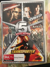 5 GREAT MOVIES SPEED A-TEAM TRANSPORTER UNSTOPPABLE MAN ON FIRE 5D REGION 4 DVD