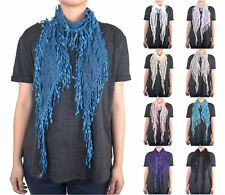 12 PCs Wholesale Women's Melon Seed Fringe Lace Scarf Embroidery Tassel Sheer
