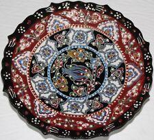 "7"" Black, Red & White Turkish Raised Iznik Floral Pattern Handmade Ceramic Plate"