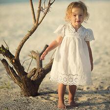 Summer Kids Toddler Baby Girl Lace Party Princess Tutu Dress Holiday Sundress UK 3-4 Years