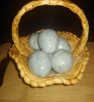 Ceramic Eggs In A Ceramic Basket Home Decor