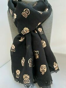 Ladies Black Scarf with all over small Gold Foil Owls metallic new Gift Soft owl