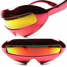 0cfed8ca232 Futuristic Alien Space Robot Party Rave Novelty Red Mirrored Lens Sunglasses  B28