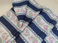 Vintage Woven Fabric Curtains Decor Poly Rayon Linen Blue Floral Stripe 3+ Yds